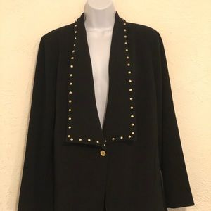 NWT!!! L Michael Kors black blazer with gold studs